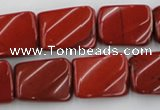 CTW382 15.5 inches 15*20mm twisted rectangle red jasper beads