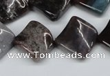 CTW41 15.5 inches 15*15mm twisted diamond moss agate beads