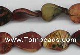 CTW71 15.5 inches 15*20mm twisted oval picasso jasper beads