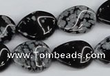 CTW78 15.5 inches 15*20mm twisted oval snowflake obsidian beads
