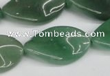 CTW90 15.5 inches 18*30mm twisted oval green aventurine beads