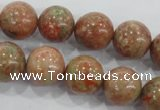 CUG105 15.5 inches 14mm round Chinese unakite beads wholesale
