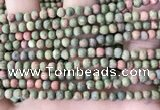 CUG190 15.5 inches 4mm round matte unakite beads wholesale