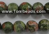 CUG303 15.5 inches 10mm faceted round unakite gemstone beads