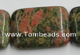 CUG55 16 inches 30*40mm rectangle natural unakite gemstone beads