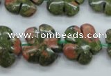 CUG74 15.5 inches 20mm carved flower unakite gemstone beads