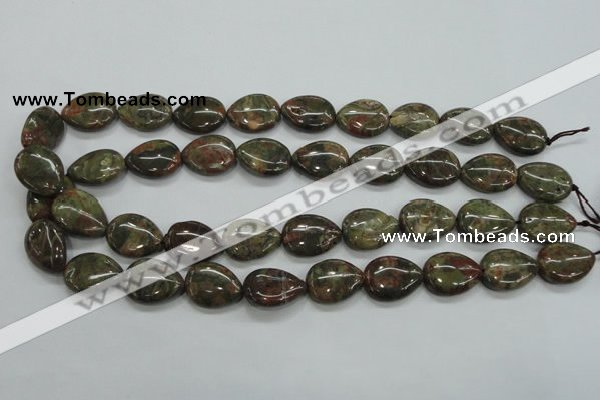 CUJ04 15.5 inches 15*20mm flat teardrop autumn jasper gemstone beads