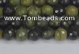CUJ100 15.5 inches 4mm faceted round African green autumn jasper beads
