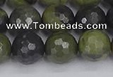 CUJ104 15.5 inches 12mm faceted round African green autumn jasper beads