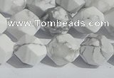 CWB246 15.5 inches 10mm faceted nuggets matte white howlite beads