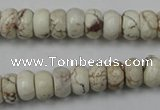 CWB322 15.5 inches 6*10mm rondelle howlite turquoise beads wholesale