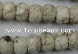 CWB323 15.5 inches 10*14mm rondelle howlite turquoise beads wholesale