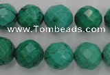 CWB404 15.5 inches 12mm faceted round howlite turquoise beads