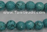 CWB423 15.5 inches 10mm faceted round howlite turquoise beads