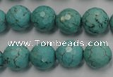 CWB424 15.5 inches 12mm faceted round howlite turquoise beads