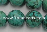 CWB428 15.5 inches 18mm faceted round howlite turquoise beads