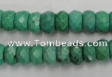 CWB445 15.5 inches 6*10mm faceted rondelle howlite turquoise beads