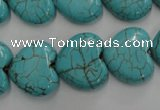 CWB718 15.5 inches 18*18mm heart howlite turquoise beads wholesale