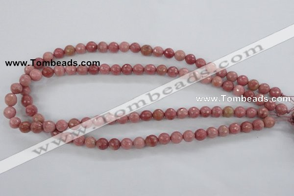 CWF02 15.5 inches 8mm faceted round pink wooden fossil jasper beads