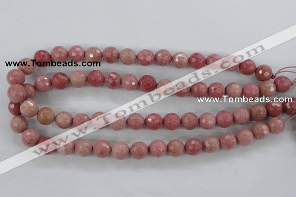 CWF03 15.5 inches 10mm faceted round pink wooden fossil jasper beads