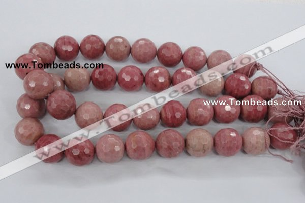 CWF08 15.5 inches 20mm faceted round pink wooden fossil jasper beads
