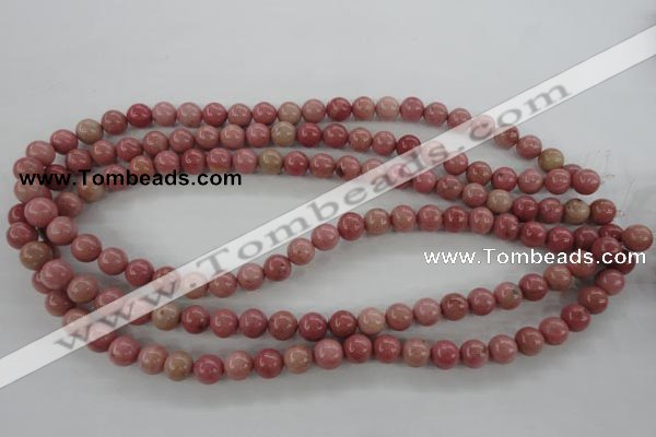 CWF12 15.5 inches 8mm round pink wooden fossil jasper beads wholesale