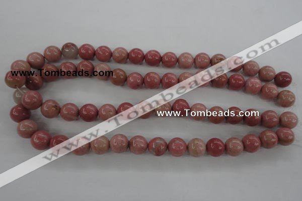 CWF15 15.5 inches 12mm round pink wooden fossil jasper beads wholesale