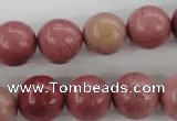 CWF16 15.5 inches 14mm round pink wooden fossil jasper beads wholesale
