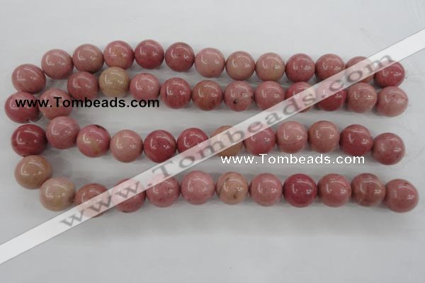 CWF17 15.5 inches 16mm round pink wooden fossil jasper beads wholesale