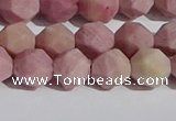 CWF31 8mm faceted nuggets matte pink wooden fossil jasper beads