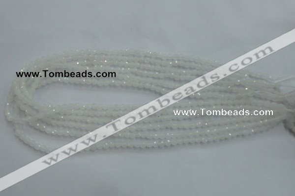 CWH01 15.5 inches 4mm faceted round white jade beads wholesale