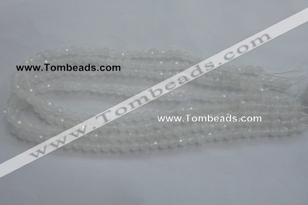 CWH02 15.5 inches 6mm faceted round white jade beads wholesale
