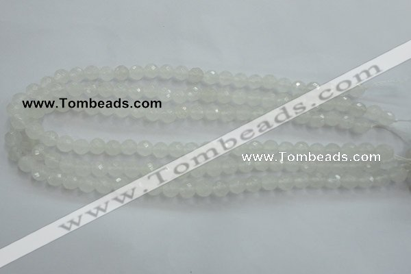 CWH03 15.5 inches 8mm faceted round white jade beads wholesale