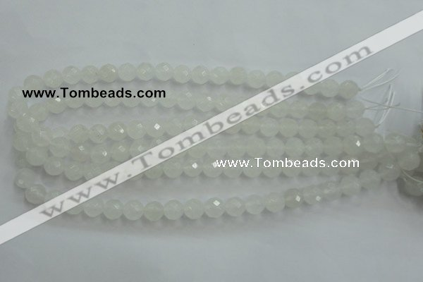 CWH04 15.5 inches 10mm faceted round white jade beads wholesale