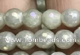 CWH70 15.5 inches 6mm faceted round AB-color white jade beads