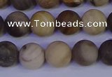 CWJ413 15.5 inches 10mm round matte wood jasper beads wholesale