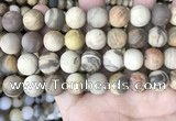 CWJ444 15.5 inches 12mm round matte wood jasper beads wholesale