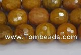 CWJ471 15.5 inches 10mm faceted round yellow petrified wood jasper beads
