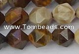 CWJ486 15.5 inches 12mm faceted nuggets wood jasper beads