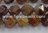 CWJ493 15.5 inches 12mm faceted nuggets wood jasper beads