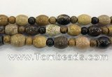 CWJ588 15.5 inches 10mm round & 13*15mm - 15*18mm rice wooden jasper beads