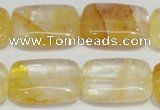 CYC10 15.5 inches 18*25mm rectangle yellow crystal quartz beads