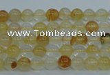 CYC101 15.5 inches 6mm round yellow crystal quartz beads