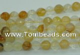 CYC112 15.5 inches 6mm faceted round yellow crystal quartz beads