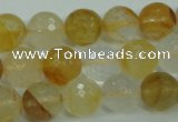 CYC115 15.5 inches 12mm faceted round yellow crystal quartz beads