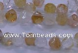 CYC135 Top drilled 7*7mm faceted teardrop yellow quartz beads