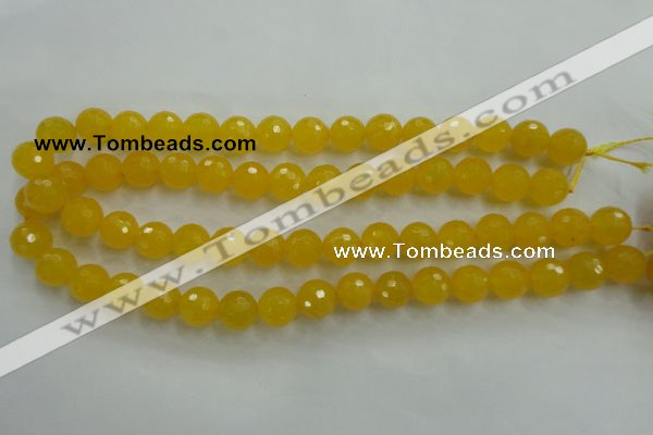 CYJ204 15.5 inches 12mm faceted round yellow jade beads wholesale