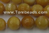 CYJ326 15.5 inches 14mm faceted round yellow jade beads wholesale