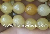 CYJ631 15.5 inches 6mm faceted round yellow jade beads wholesale