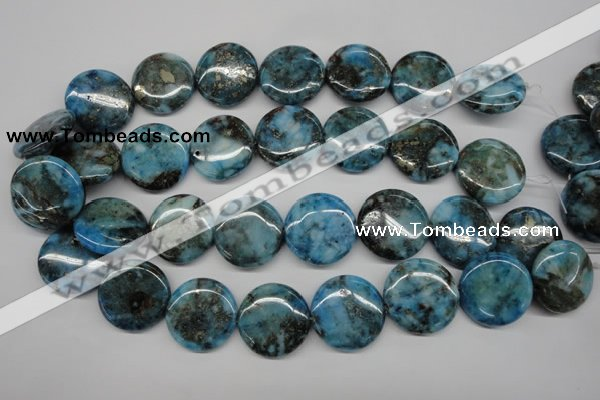 CYQ75 15.5 inches 25mm flat round dyed pyrite quartz beads wholesale